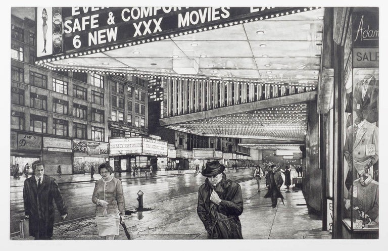The Great Divide ( 42nd Street in Manhattan before Disney moved into the hood) - Gray Landscape Print by Frederick Mershimer