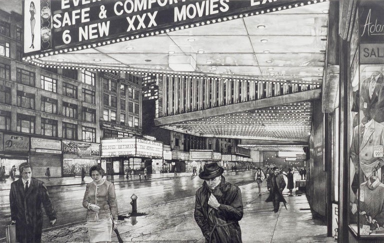 Frederick Mershimer Landscape Print - The Great Divide ( 42nd Street in Manhattan before Disney moved into the hood)