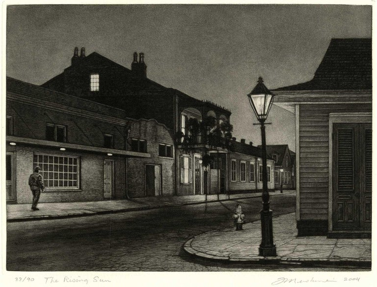 The Rising Sun (Lone man by 700 Burgundy in New Orleans at gay bar, Rawhide) - Black Landscape Print by Frederick Mershimer