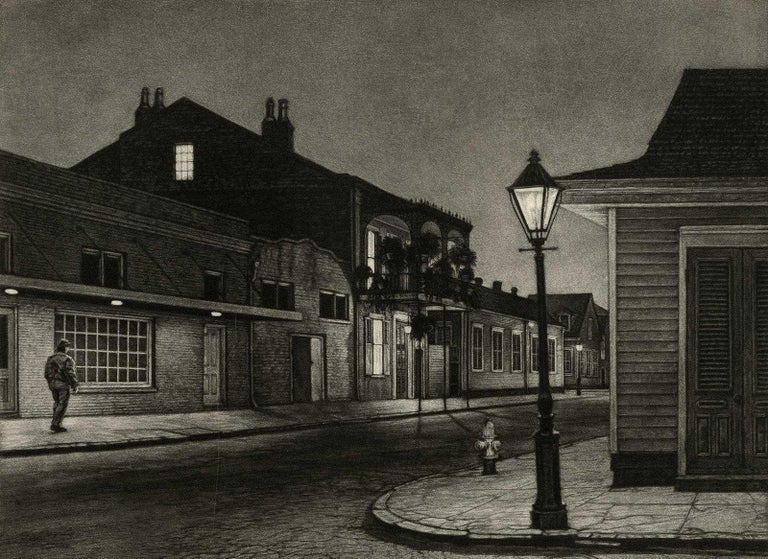 Frederick Mershimer Landscape Print - The Rising Sun (Lone man by 700 Burgundy in New Orleans at gay bar, Rawhide)