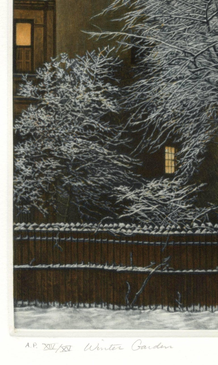 Winter Garden (Snow covered trees contrast with warm light inside brownstones) - Contemporary Print by Frederick Mershimer
