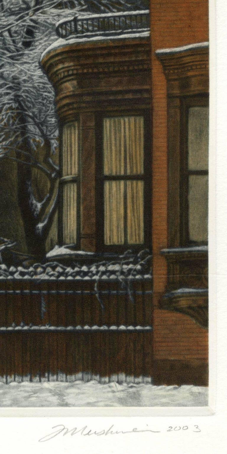Winter Garden (Snow covered trees contrast with warm light inside brownstones) - Black Print by Frederick Mershimer
