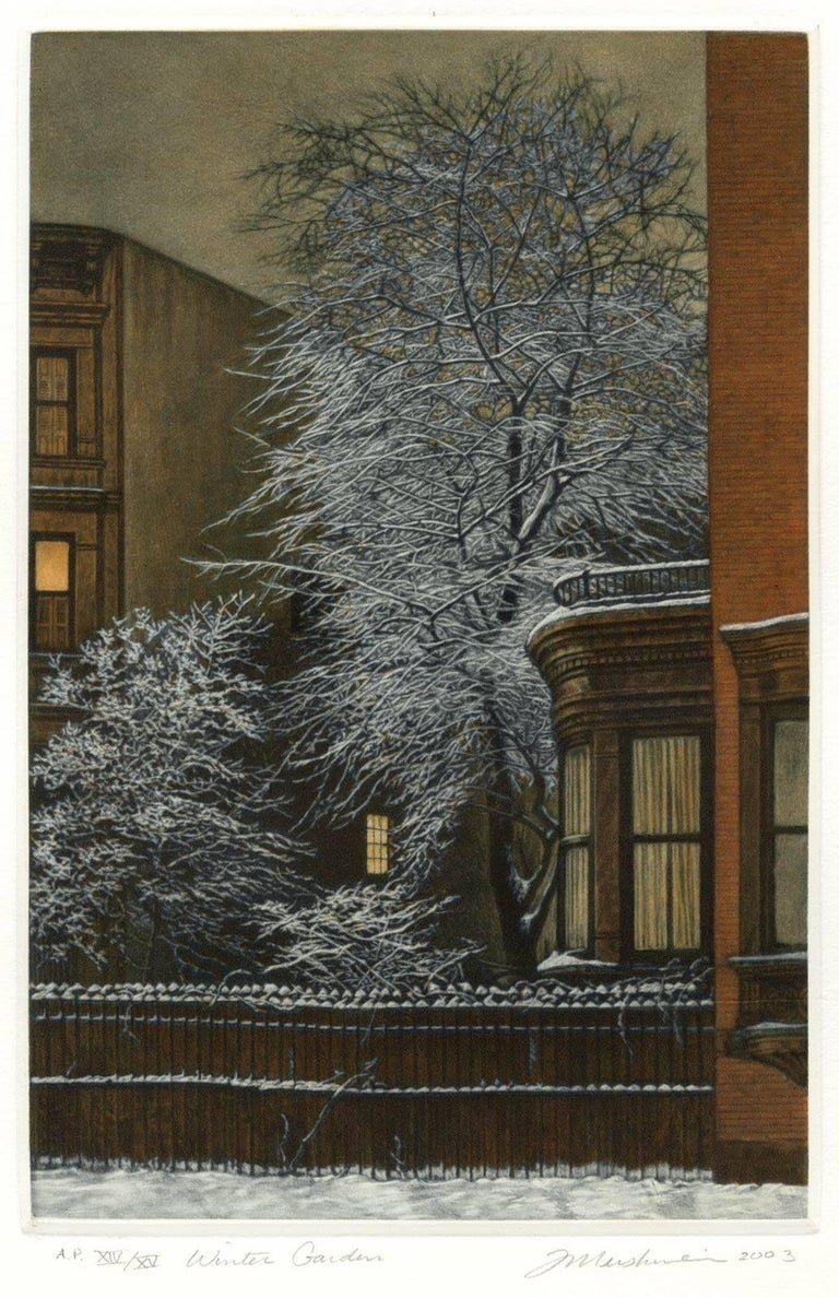 Frederick Mershimer Print - Winter Garden (Snow covered trees contrast with warm light inside brownstones)
