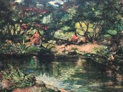 Two Women Sitting by a River in a Lush Exotic Tropical Setting (Laguna Beach)