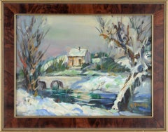 Country Home in the Snow - Landscape
