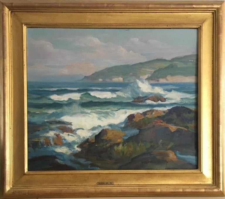 Frederick Pawla (American, 1876 - 1964) Crashing Waves Oil on canvas board Signed 'Frederick A. Pawla' lower right 20in H x 24in L In gold gilt frame 27inH x 31in L x 1.5in D  Pawla is well known for his public murals in California, including a 1929