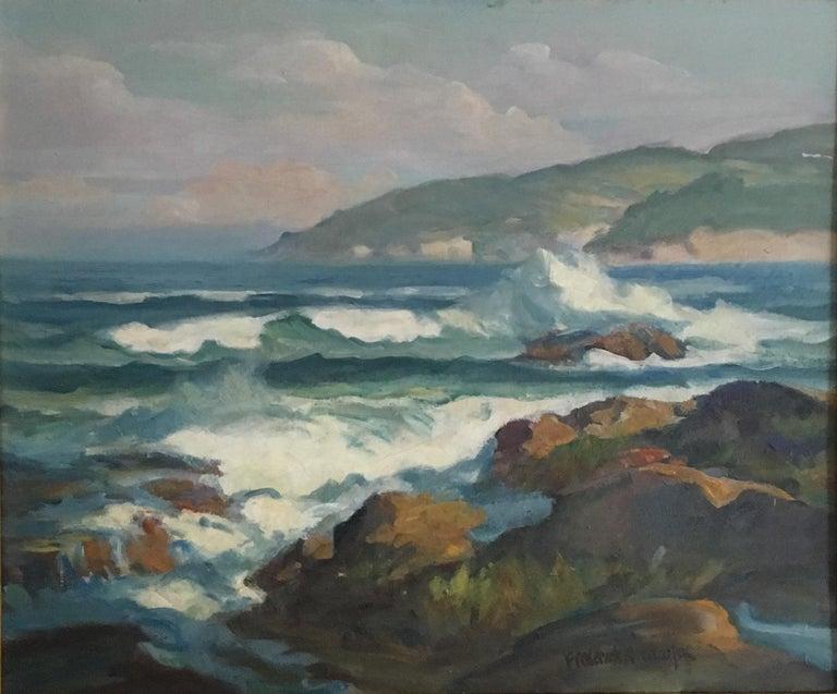 """Frederick Pawla """"Crashing Waves"""" Coastal Painting - Gray Landscape Painting by Frederick Pawla"""