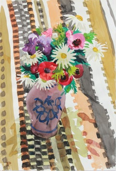 """""""Birthday Bouquet"""" March 3, 1965 Colorful Still Life Watercolor"""