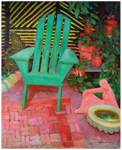 Bright Still Life of Green Chair and Plants with Red and Pink , Oil Painting