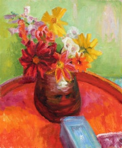 Bright Still Life with Flowers, Oil Painting, Late 20th Century
