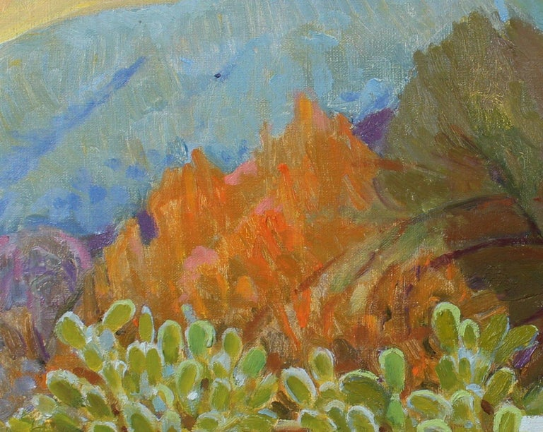 Cactus with Mountain Scene 20th Century Oil Painting - Brown Landscape Painting by Frederick Pomeroy