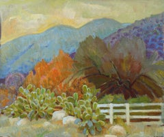 Cactus with Mountain Scene 20th Century Oil Painting