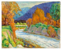 Carmel Valley Landscape with River, Oil Painting, Late 20th Century