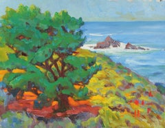 Colorful Coastal Landscape Mid-Late 20th Century Oil Painting