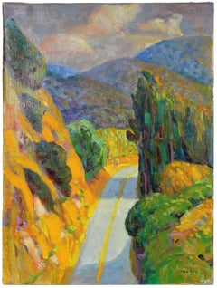 Colorful Oil on Canvas Carmel Valley Landscape with Mountains, Trees and Road