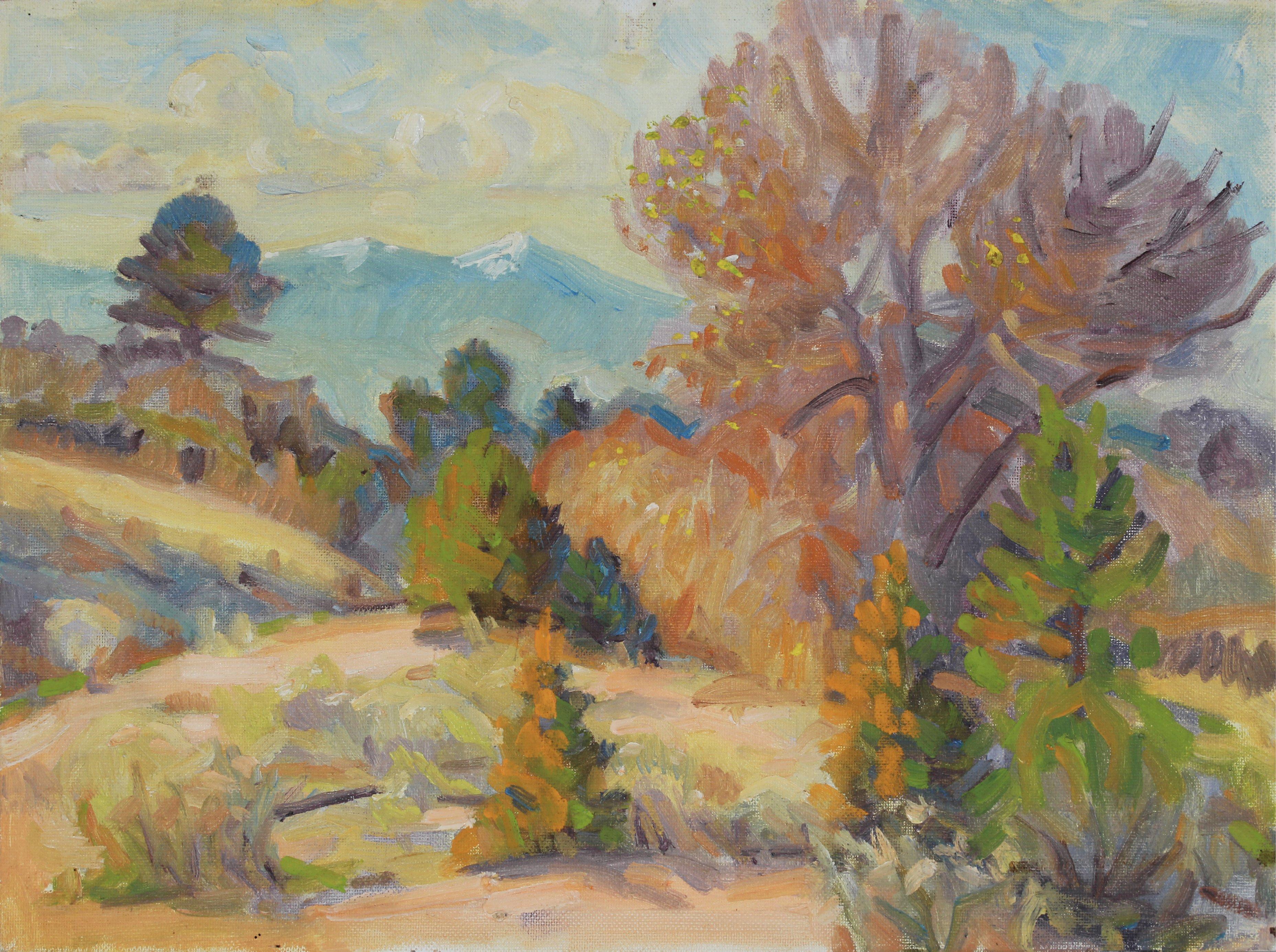 Desert Scrub Landscape 20th Century Oil Painting