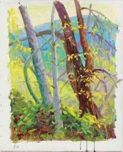 Lush Spring Forest Landscape with a Mountain and Trees in Oil on Linen, 1954