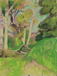 Lush Verdant Hillside Forest 20th Century Oil Painting