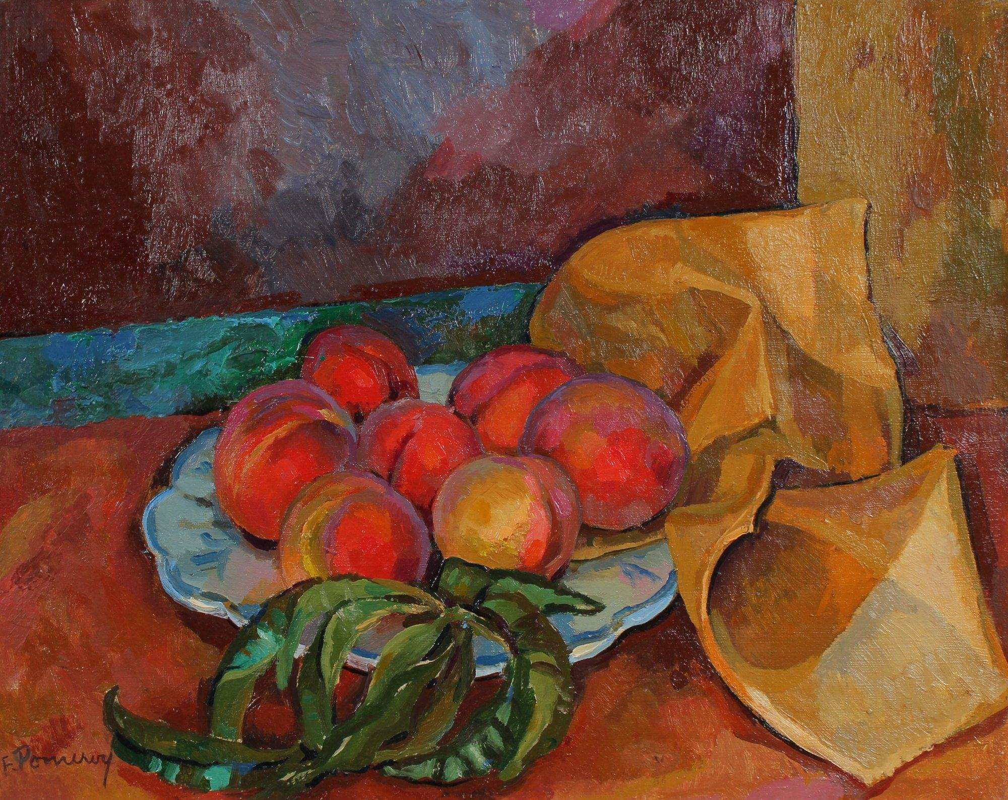 Peaches in Bowl Still Life Mid-Late 20th Century Oil