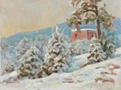 Quiet Snowy Scene 20th Century Oil Painting