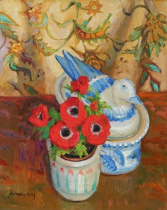Still Life with Red Anemone Flowers, Oil on Canvas Painting, Late 20th Century