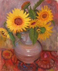 Still Life with Sunflowers, Oil on Canvas Painting, Late 20th Century