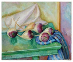 Still Life with Turnips, Oil on Canvas Painting, Late 20th Century