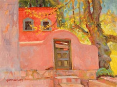 Sunlit Red Adobe Home 20th Century Oil Painting