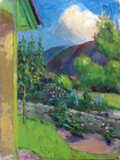 Sunny Garden Scene 20th Century Oil Painting