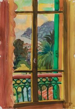 """The Window on Ville franche"" 1965 Watercolor & Graphite on Paper Window Scene"