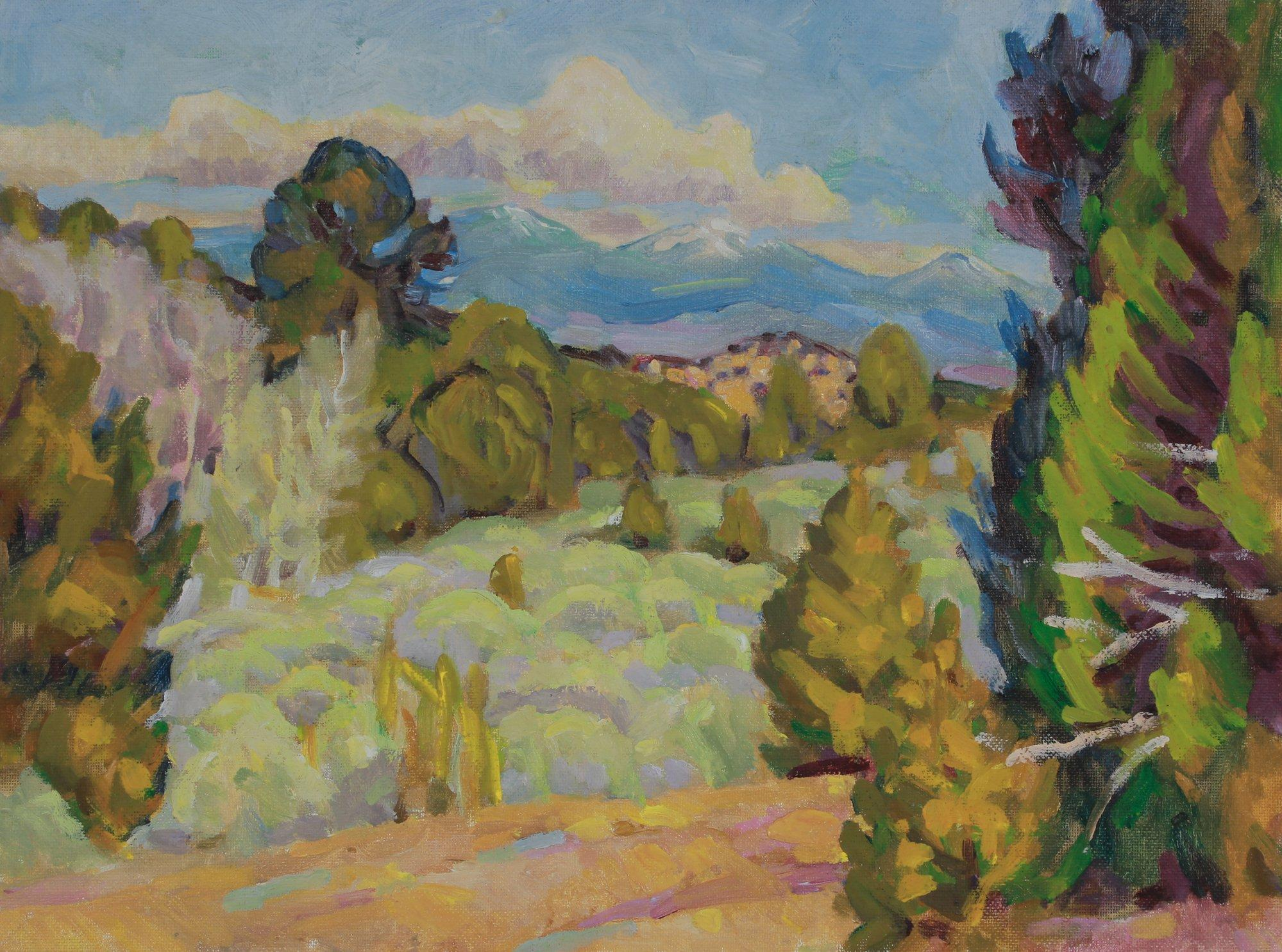 Tranquil Mountain Landscape 20th Century Oil Painting
