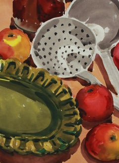 Vintage Still Life with Apples & Ladle Mid Century Watercolor & Graphite