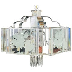 Frederick Ramond Mid-Century Modern Glass and Chrome Chandelier or Pendant