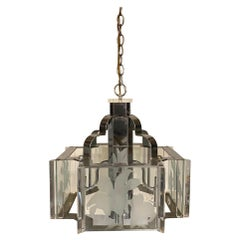 Frederick Raymond Art Deco Revival Chrome and Glass Chandelier