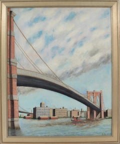 Brooklyn Transfer East River Crossing Oil on Canvas Painting Frederick Reimers