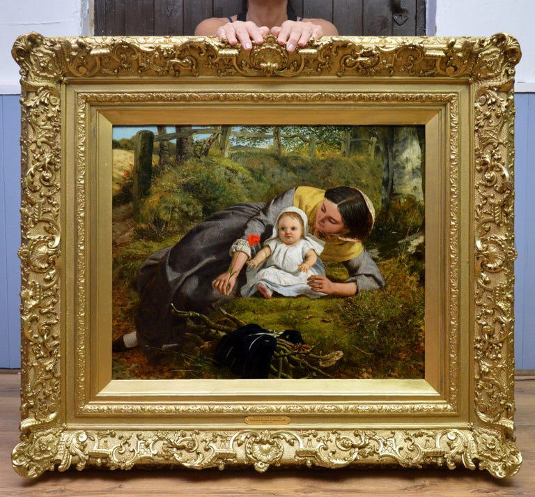 Mother & Child with Poppy - Mid 19th Century Pre Raphaelite Oil Painting - 1862 - Brown Figurative Painting by Frederick Richard Pickersgill