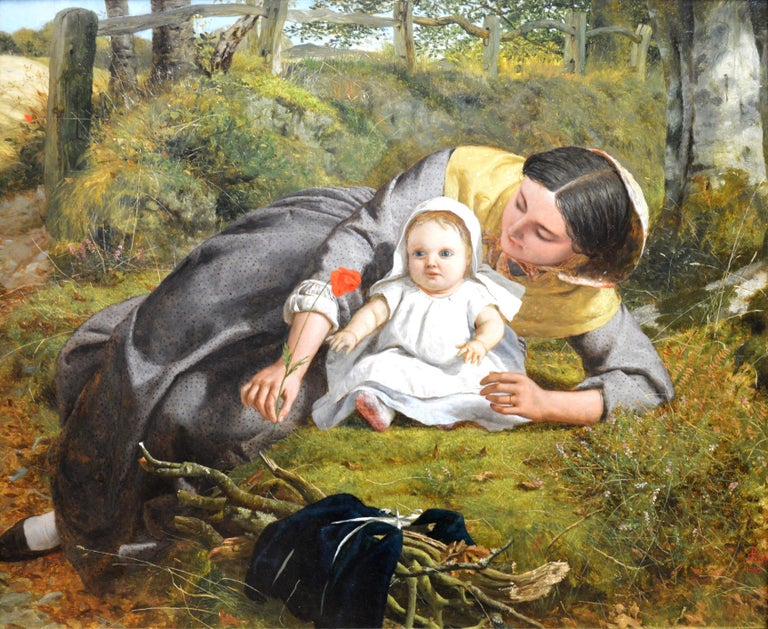 This is a large fine mid-19th century Pre-Raphaelite oil on canvas depicting a 'Mother and Child with Poppy' by the eminent Victorian painter Frederick Richard Pickersgill RA (1820-1900). The painting is signed by the artist with his monogram and