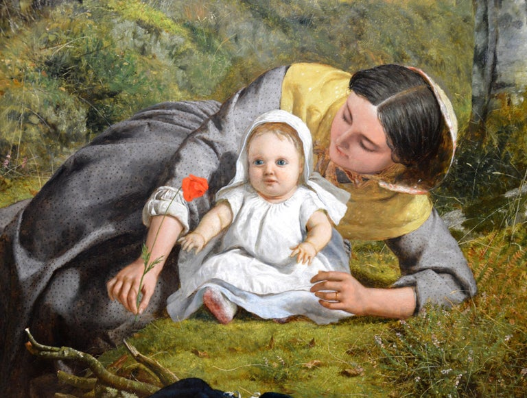 Mother & Child with Poppy - Mid 19th Century Pre Raphaelite Oil Painting - 1862 For Sale 1