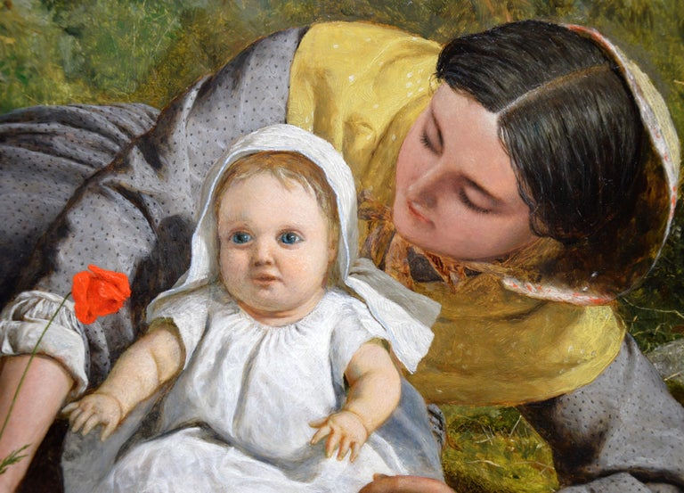 Mother & Child with Poppy - Mid 19th Century Pre Raphaelite Oil Painting - 1862 For Sale 4