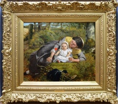 Mother & Child with Poppy - Mid 19th Century PreRaphaelite Oil Painting - 1862