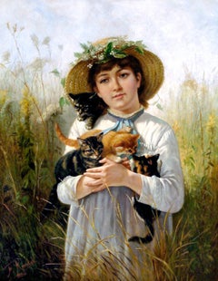 Young Girl with Kittens