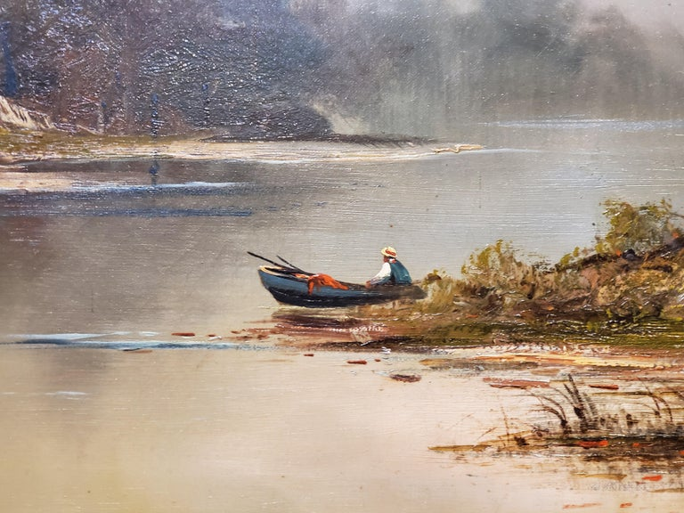 Autumn on Lake George Landscape Painting signed by Frederick Ferdinand Schafer For Sale 1