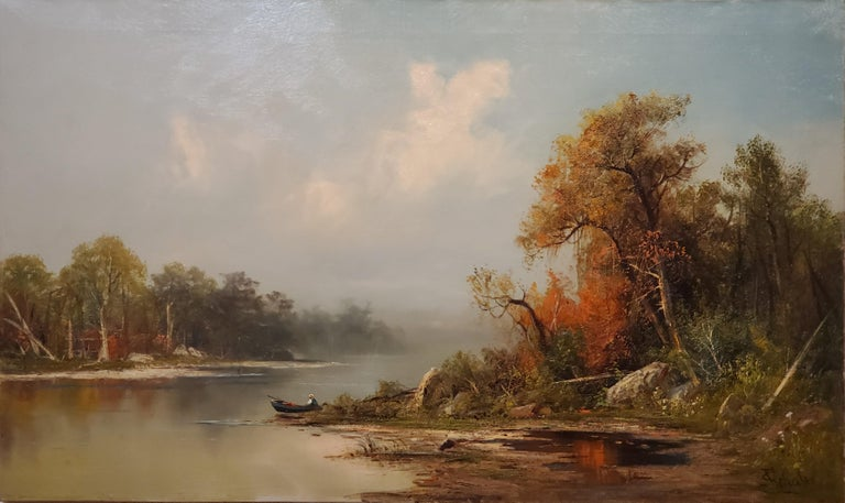 """Autumn on Lake George Landscape Painting signed by Frederick Ferdinand Schafer, American 1839-1927  30"""" x 50"""" oil on canvas signed lower right. In Hudson River frame. Autumn on Lake George Signed and titled.   The following biography is from the"""
