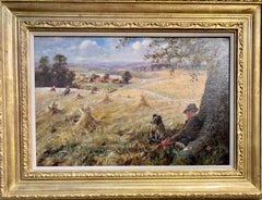 1920's Antique English Impressionist harvest landscape with man and his dog.