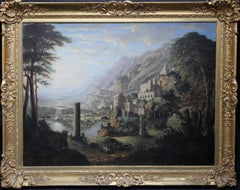 Capriccio- British Victorian Classical oil panoramic landscape architecture lake