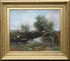 Lock on the Stour - British 19th century art river landscape oil painting