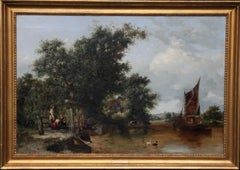 Pulling in the Creel Nets - British Victorian art river landscape oil painting