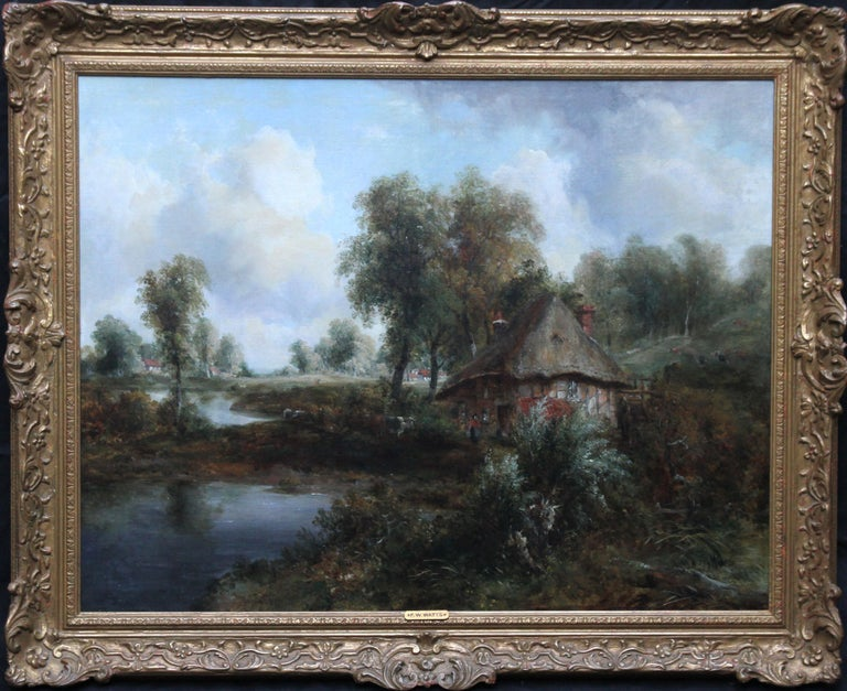 Thatched Cottage and Figures by Waters Edge - British Victorian art oil painting For Sale 9