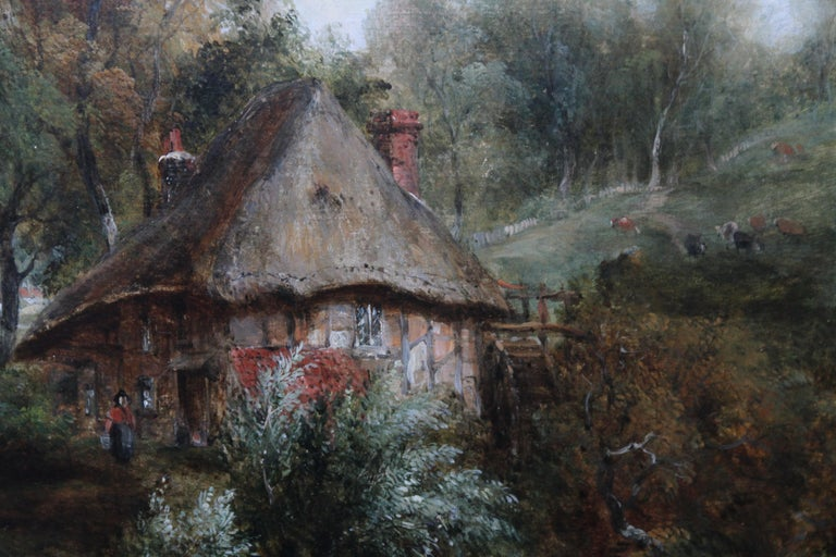 Thatched Cottage and Figures by Waters Edge - British Victorian art oil painting For Sale 4