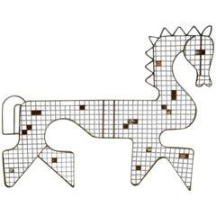 Frederick Weinberg Distressed Worn Modernist Welded Steel Horse Wall Sculpture
